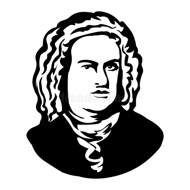 Johann Sebastian Bach Portrait de vecteur de Mark Twain illustration de vecteur