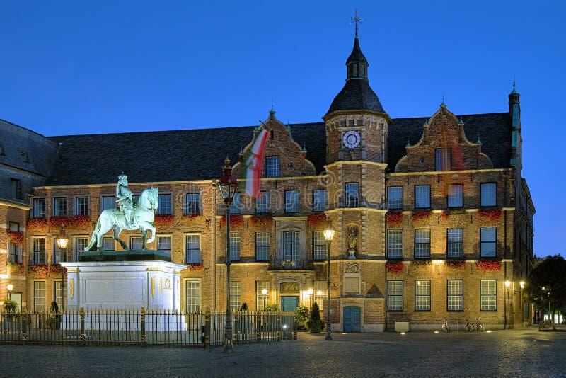 Johann Wilhelm II statue and City Hall, Dusseldorf. Equestrian statue of Johann Wilhelm II (Jan Wellem) and City Hall of Dusseldorf at dawn, Germany royalty free stock photo