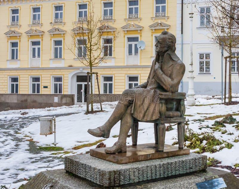 Johann Wolfgang Goethe-standbeeld, kuuroord Marianske lazne, Tsjechische republ stock foto