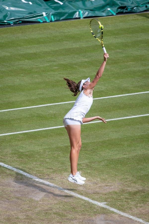 Johanna Konta på Wimbledon royaltyfri fotografi