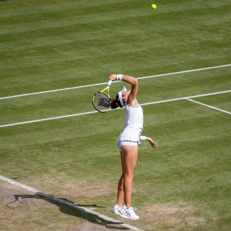 Johanna Konta på Wimbledon royaltyfri foto