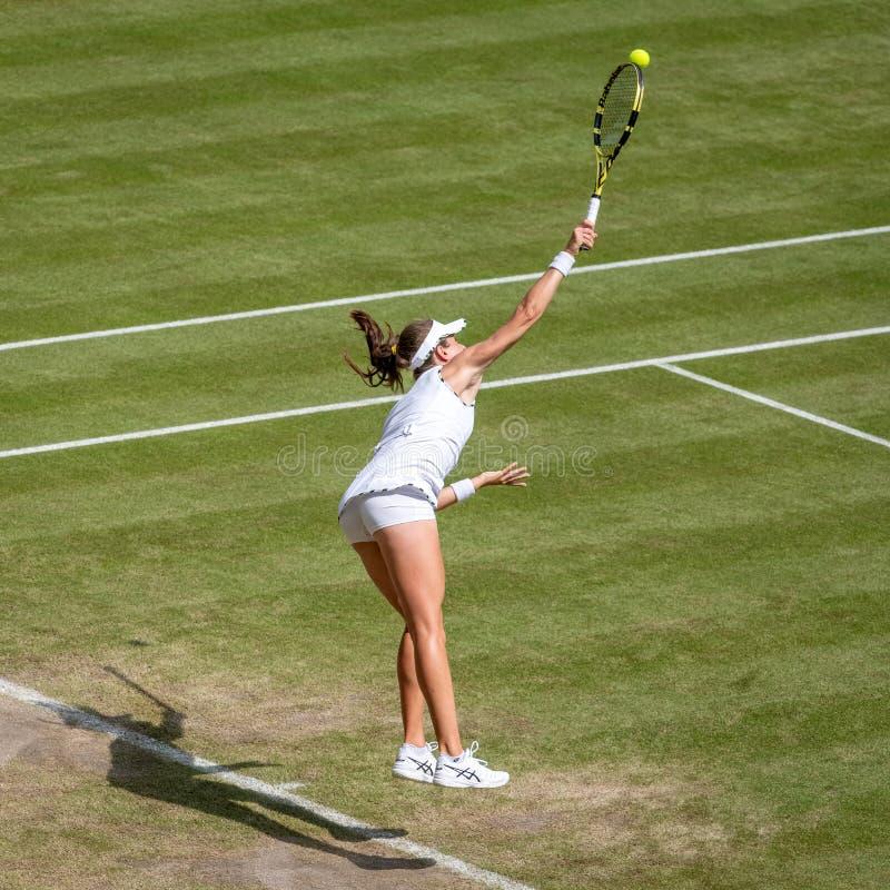 Johanna Konta på Wimbledon royaltyfria foton
