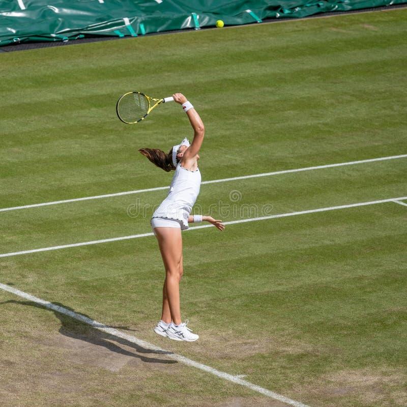 Johanna Konta på Wimbledon royaltyfria bilder