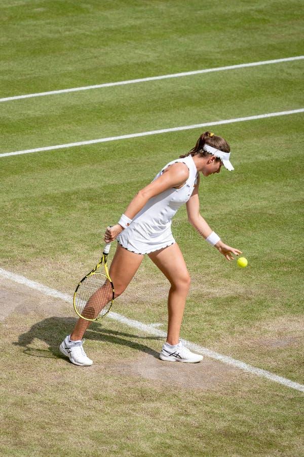 Johanna Konta på Wimbledon fotografering för bildbyråer