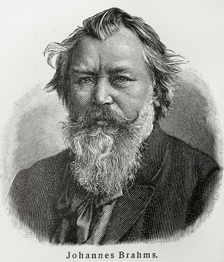 Johannes Brahms. (1833 - 1897) was a German composer and pianist, and one of the leading musicians of the Romantic period. Picture from an 100 years old