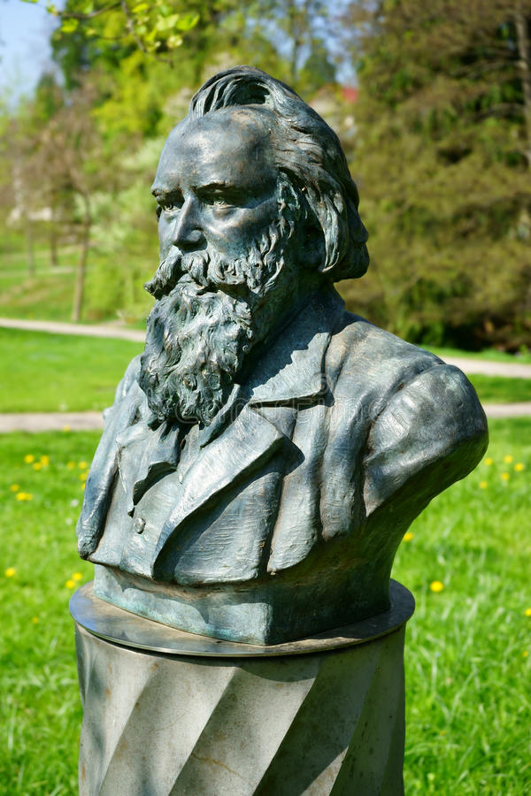 Johannes Brahms bust in a park in Baden-Baden royalty free stock image