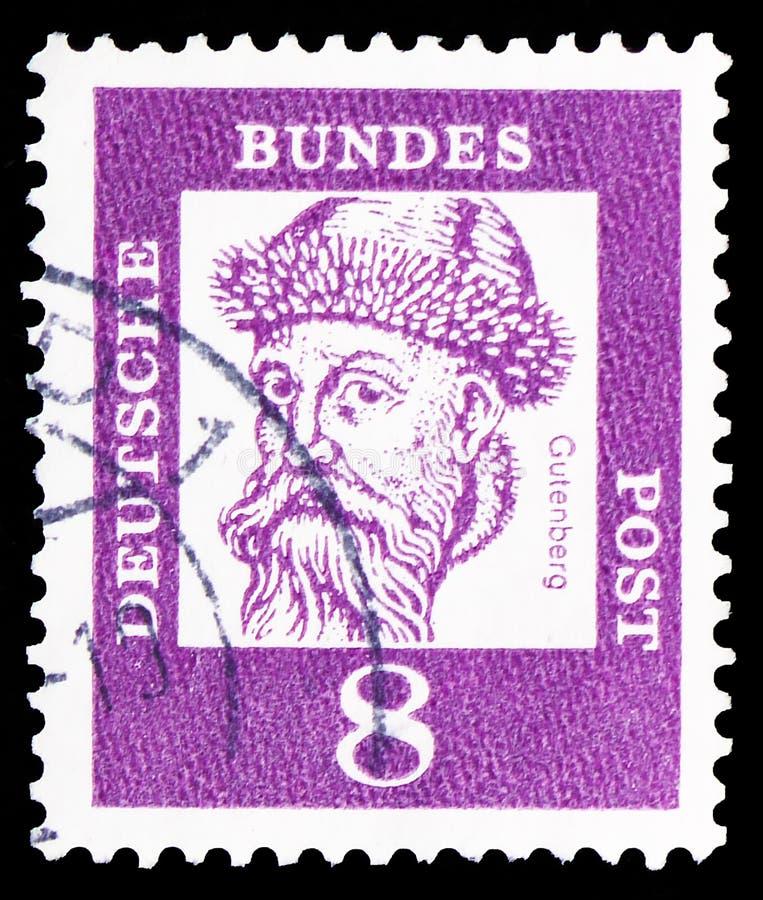 Johannes Gutenberg over 1397-1468, uitvinder van typografie, Voorname Duitsers serie, circa 1961 stock afbeelding
