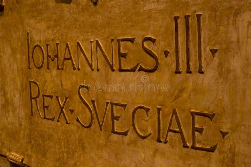 JOHANNES III bronshandstil på kyrkan dom royaltyfria bilder