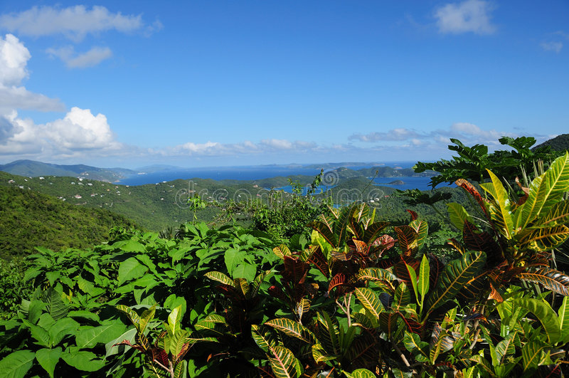 Johannes, Panorama US-Virgin Islands lizenzfreie stockfotos