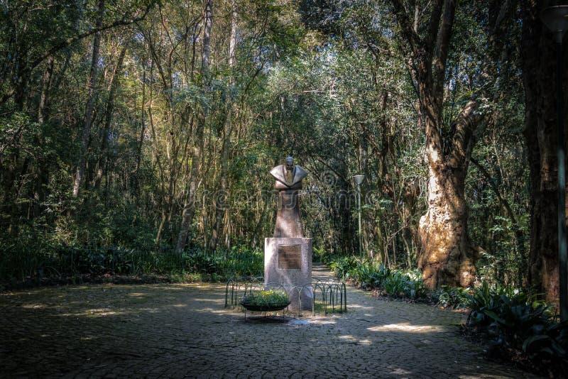 Johannes Paulus II-het standbeeld in Bosque doet het Hout van Papa Pope ` s - Curitiba, Parana, Brazilië royalty-vrije stock foto's