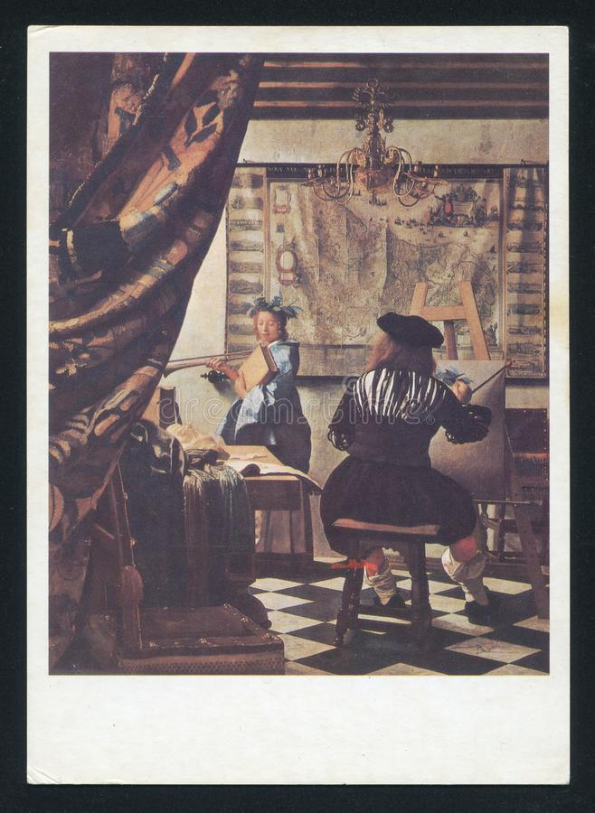 Johannes Vermeer The Art der Malerei lizenzfreie stockfotos