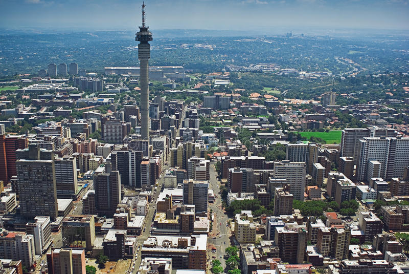 Johannesburg CBD - LuchtMening royalty-vrije stock afbeeldingen