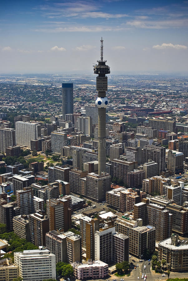 Johannesburg CBD - Luftaufnahme lizenzfreie stockbilder