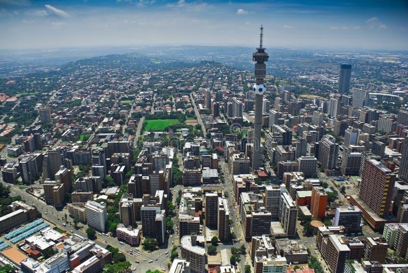 Johannesburg CBD - Luftaufnahme stockfotografie