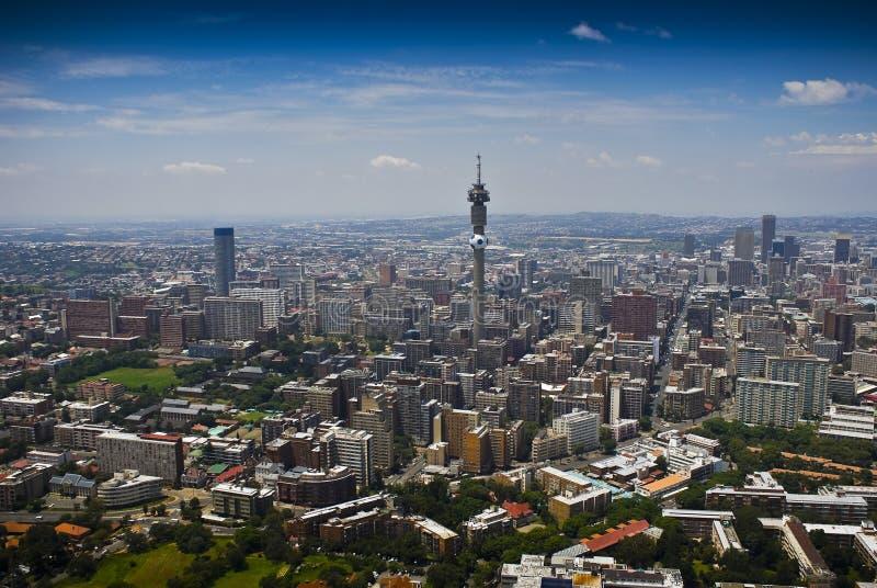 Johannesburg CBD - Luftaufnahme lizenzfreies stockbild