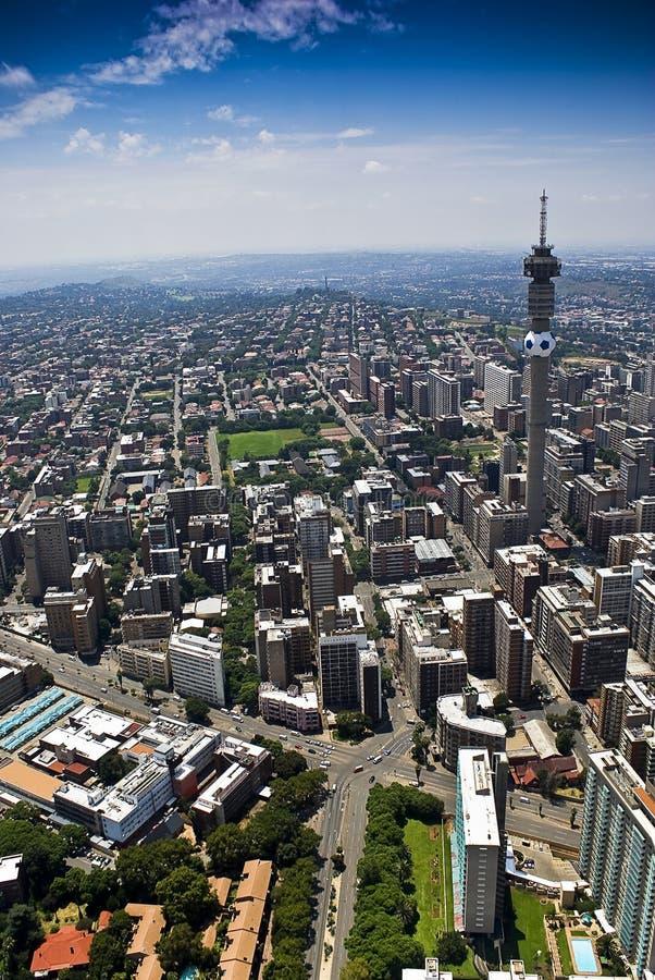 Johannesburg CBD - Vista aerea fotografie stock