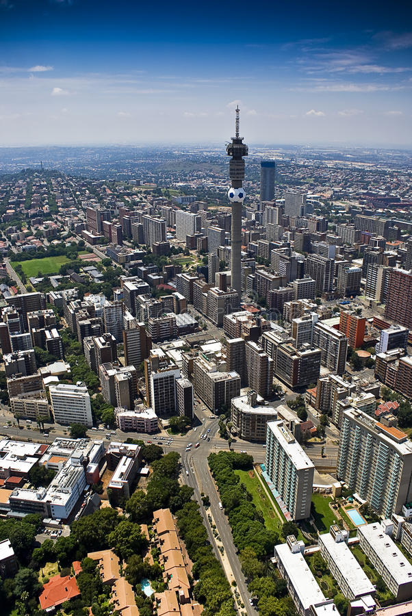 Johannesburg CBD - Vista aerea immagini stock