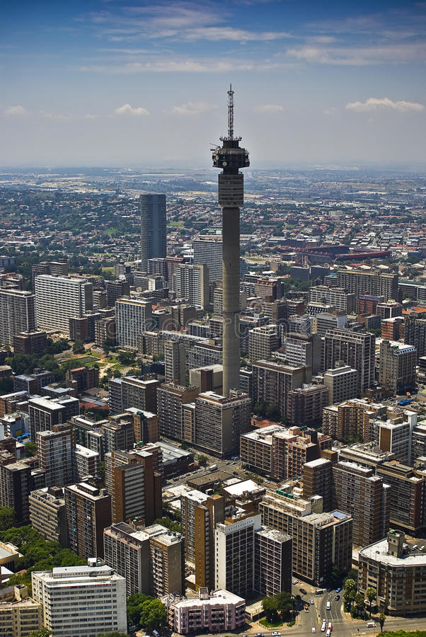 Johannesburg CBD - Vue aérienne - 1B photo stock