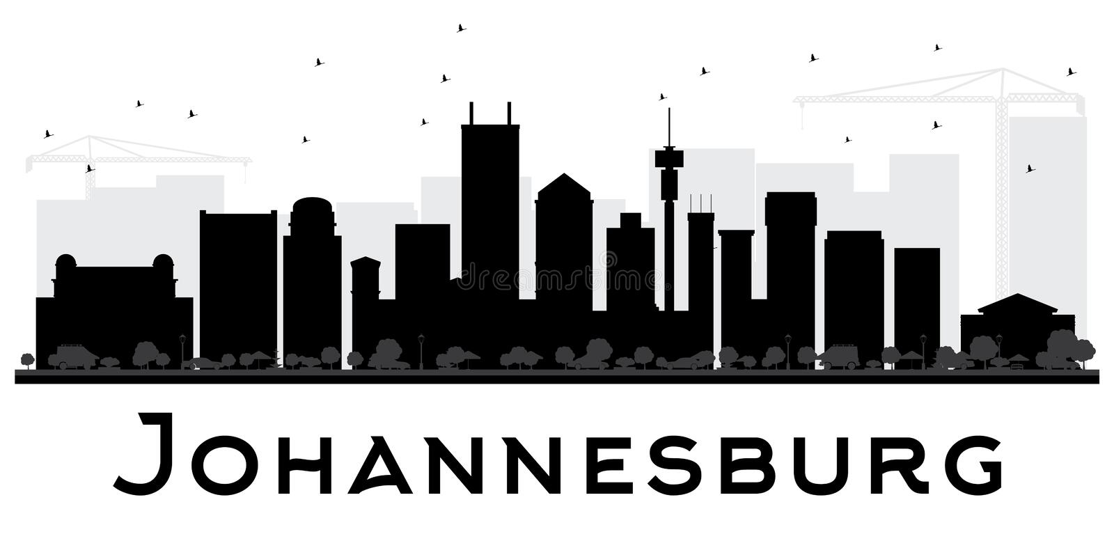 Johannesburg City skyline black and white silhouette. royalty free illustration