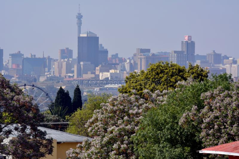 Johannesburg på en vårdag royaltyfri fotografi