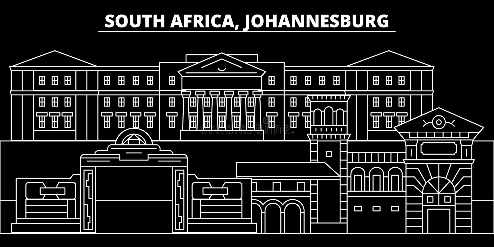 Johannesburg silhouette skyline. South Africa - Johannesburg vector city, african linear architecture. Johannesburg line royalty free illustration