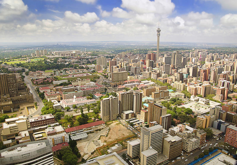 Johannesburg Skyline Areal view. A beautiful Johannesburg Skyline Areal view royalty free stock photos