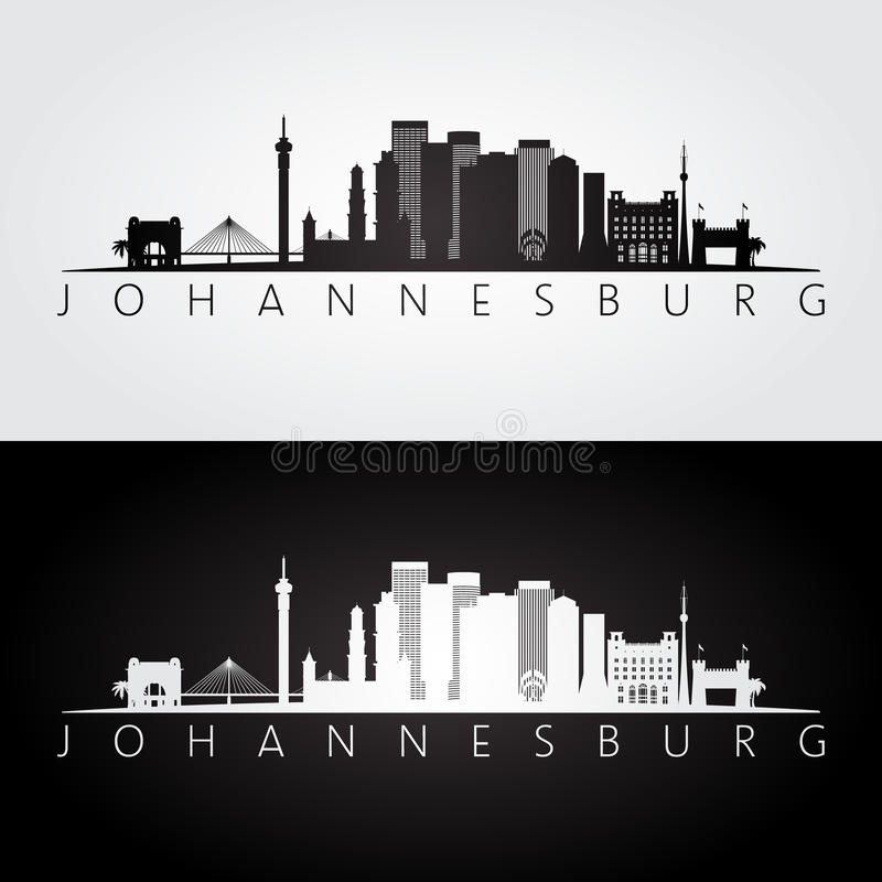 Download johannesburg skyline and landmarks silhouette stock vector illustration of african office 91048919