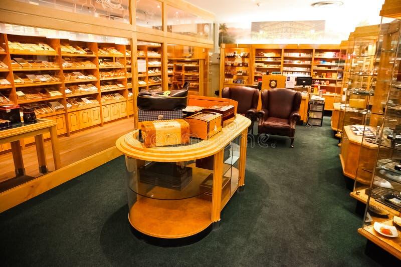 Interior of an Up-Market Cigar Shop stock images