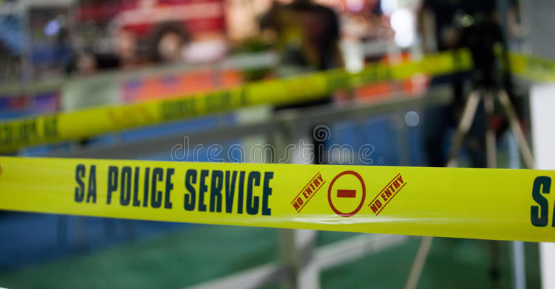 JOHANNESBURG, SOUTH AFRICA - APRIL 2017 South African Police Service crime scene tape stock photos