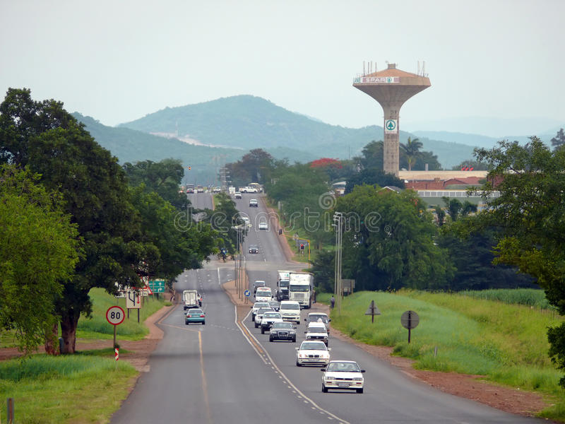 Johannesburg, South Africa - 12 December 2008: road with the moving of her car. stock image