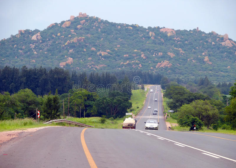 Johannesburg, South Africa - 12 December 2008: road with the moving of her car. royalty free stock photos