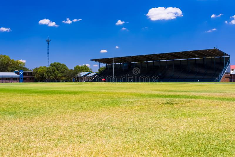 Empty High School Sports Stadium. Johannesburg, South Africa - February 10 2015: Empty High School Sports Stadium royalty free stock image