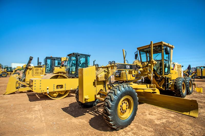 Large earth moving equipment on display stock photography