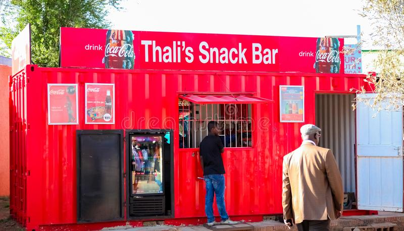 Small kiosk shop in urban Soweto South Africa stock image