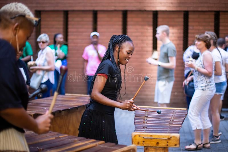 Playing marimba`s in Johannesburg royalty free stock image