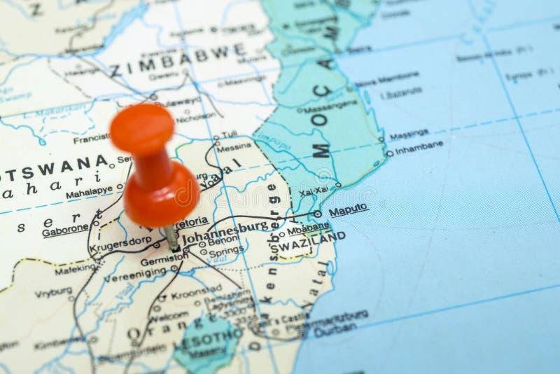 Johannesburgo en mapa imágenes de archivo libres de regalías