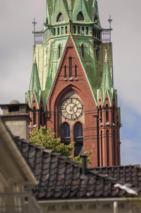 Johanneskirken kościół w Bergen mieście obraz stock