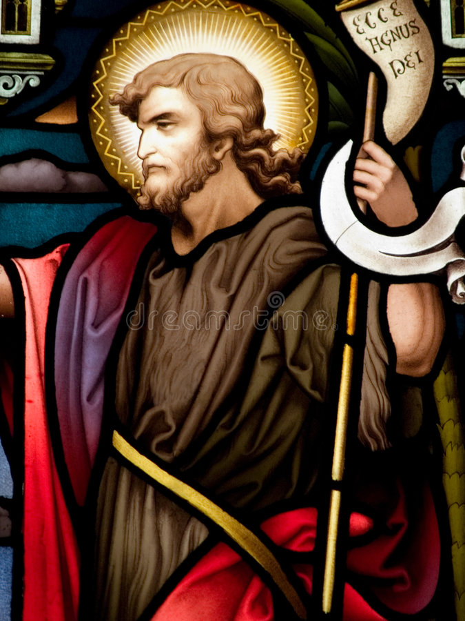 John the Baptist. Stained glass in Catholic church in Dublin showing a John the Baptist royalty free stock photography