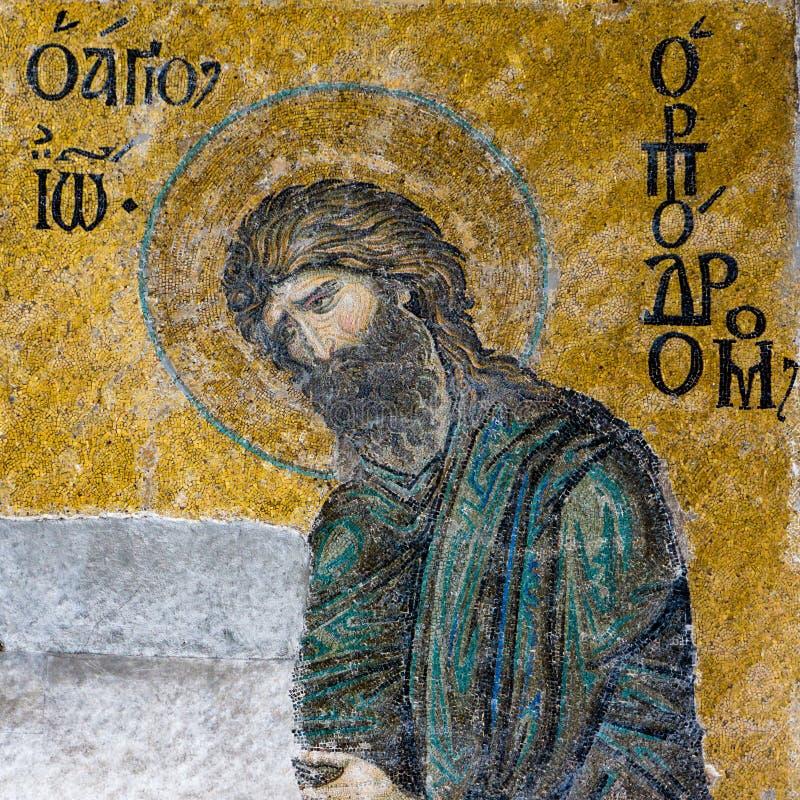 John The Baptist, um mosaico bizantino em Hagia Sophia Istanbul, T imagens de stock royalty free