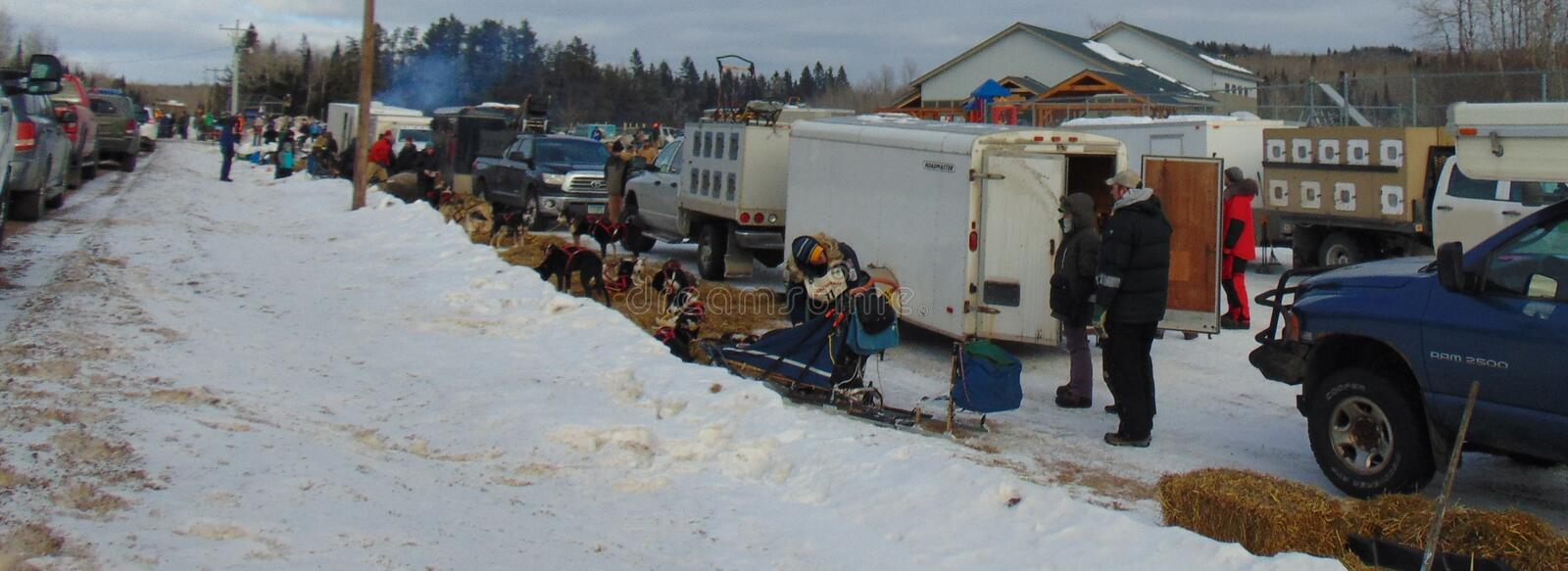 John Beargrease Sled Dog Marathon 2018 Finland Checkpoint spectators and mushers with teams stock images