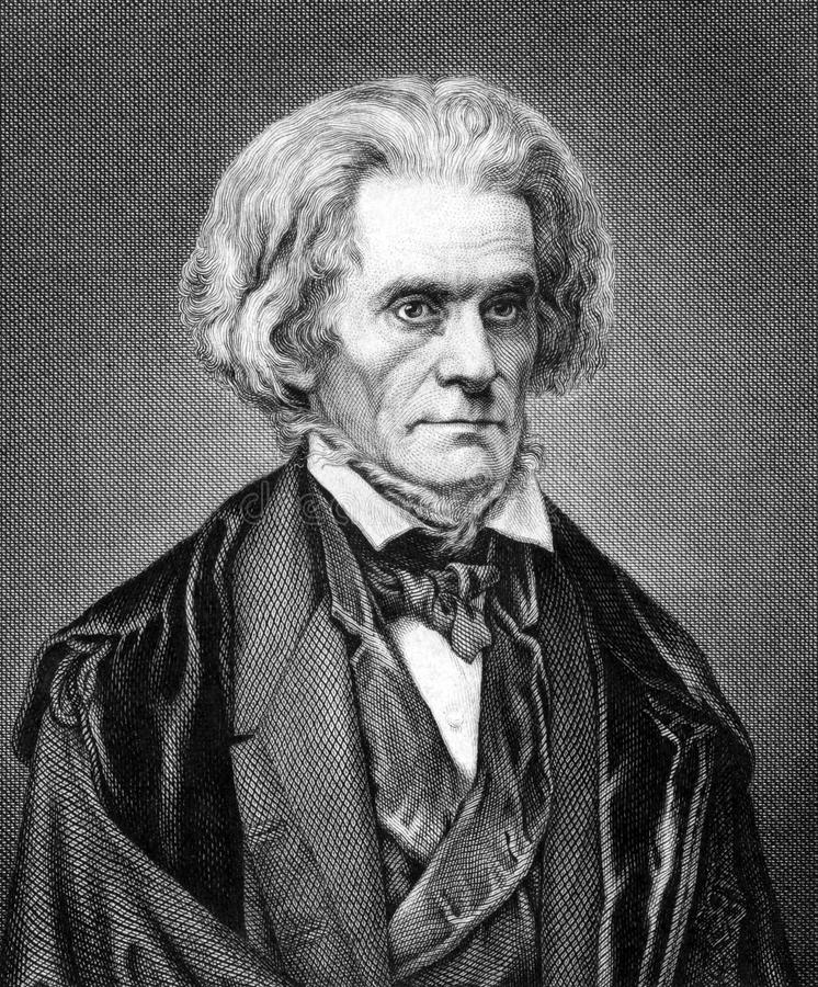John Caldwell Calhoun. (1782-1850) on engraving from 1859. United States politician and political theorist. Engraved by Nordheim and published in Meyers royalty free stock image