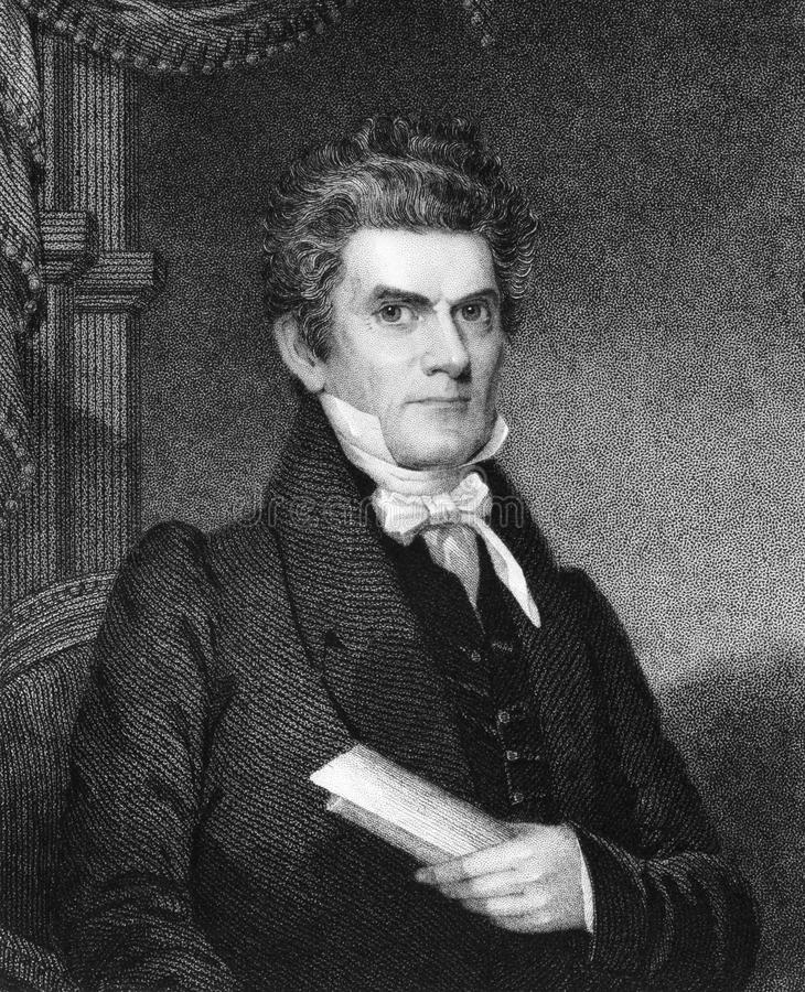 John Caldwell Calhoun. (1782-1850) on engraving from 1835. United States politician and political theorist. Engraved by and published in''National Portrait stock photo