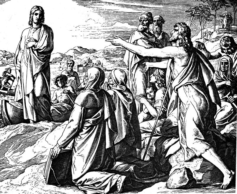 John Calls Jesus l'agnello di Dio immagini stock libere da diritti