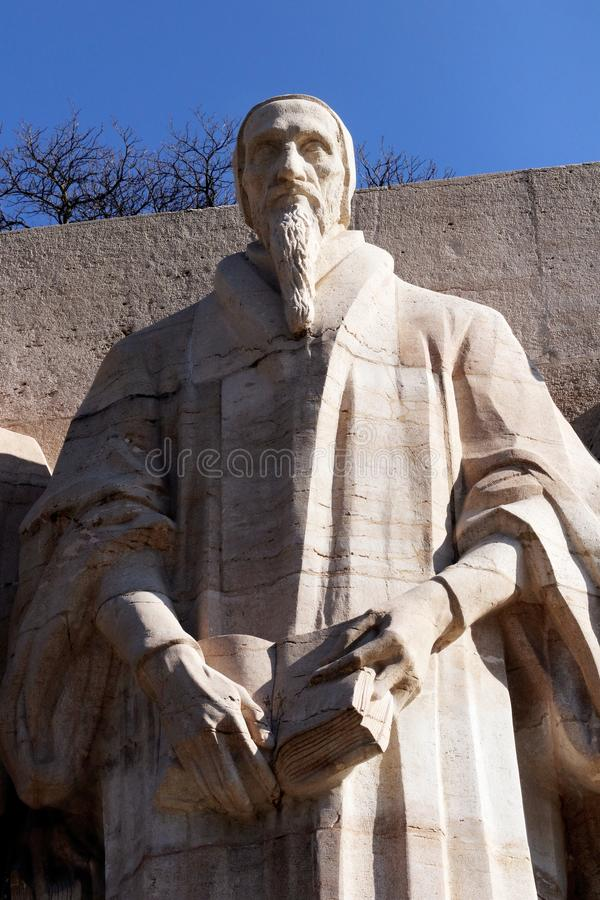John Calvin Reformations-Wand in Genf, die Schweiz protestantism lizenzfreie stockbilder