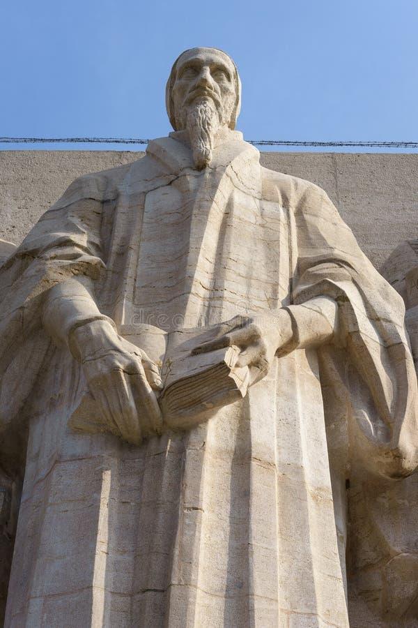 John Calvin, Verbesserungswand, Genf, die Schweiz. stockfotografie