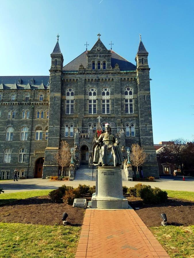 John Carroll statua na uniwersytet georgetown kampusie obrazy stock