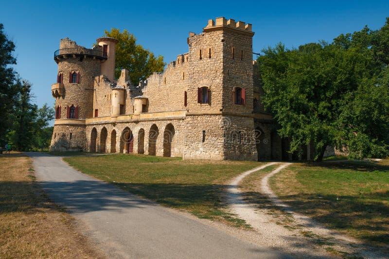 John castle. Januv hrad is romantic ruined castle near Lednice, Czech Republic stock photo
