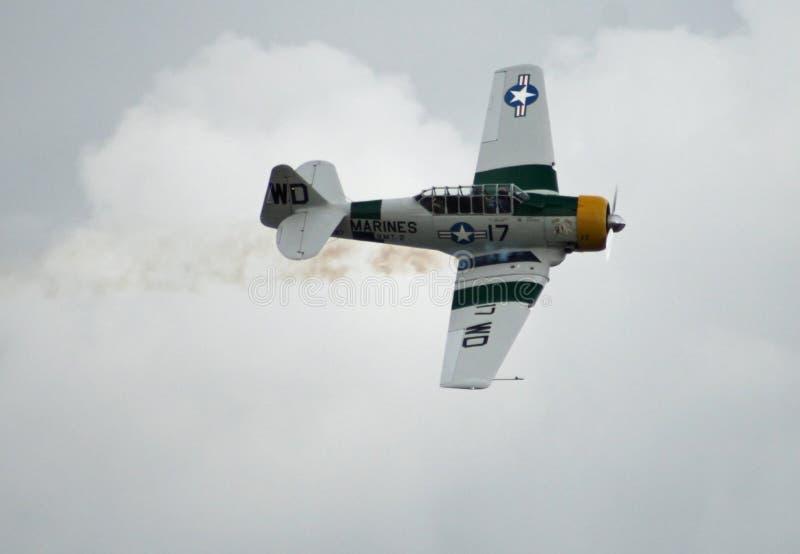 John Collver. 2011 Riverside Airshow with War Dog doing incredible aerobatic stunts royalty free stock image