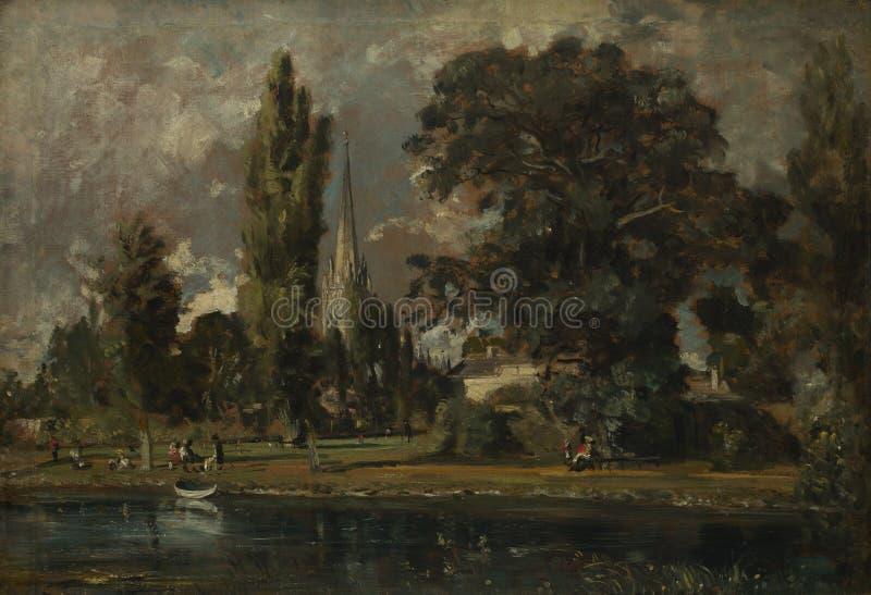 John Constable - собор и Leadenhall Солсбери от реки Эвон стоковое изображение rf