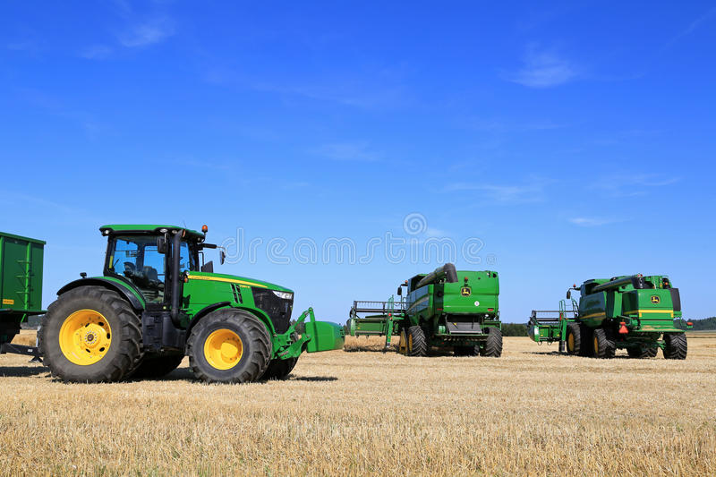John Deere Agricultural Equipment on Field stock photo